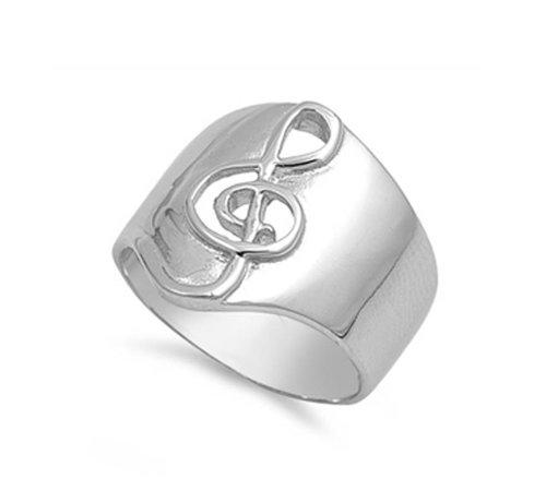 ZilverVoorJou Zilveren brede ring met vioolsleutel