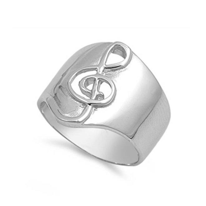 Zilveren brede ring met vioolsleutel