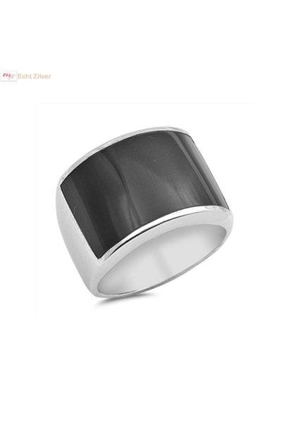 Zilveren ring met zwarte onyx rechthoek