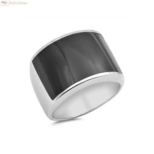ZilverVoorJou Zilveren ring met zwarte onyx rechthoek