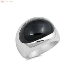 ZilverVoorJou Zilveren ring met ovale zwarte onyx steen