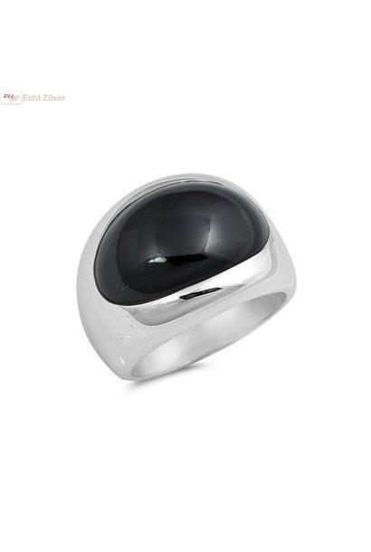 Zilveren ring met ovale zwarte onyx steen