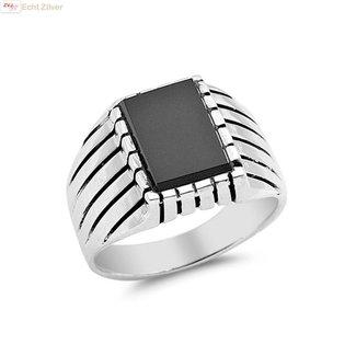ZilverVoorJou Zilveren heren ring vierkante zwarte onyx