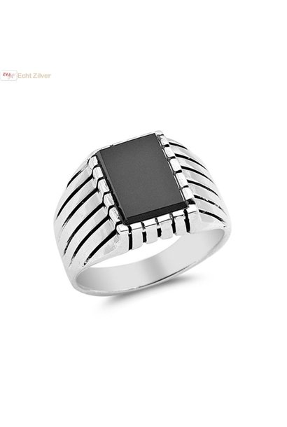 Zilveren heren ring vierkante zwarte onyx