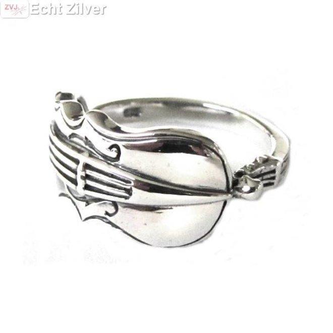 Zilveren viool ring