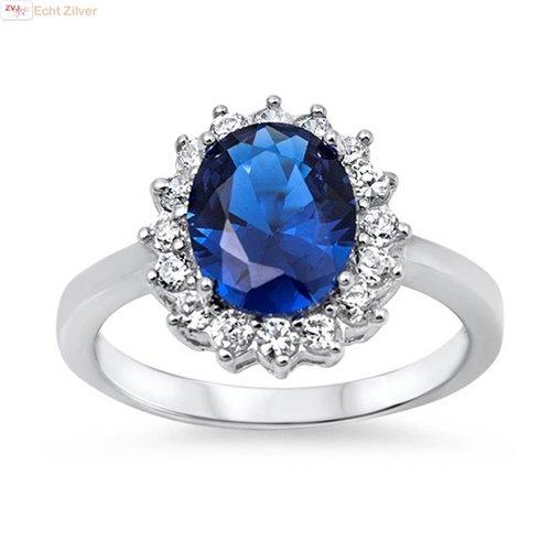 ZilverVoorJou Zilveren saffier blauwe ovale Diana ring