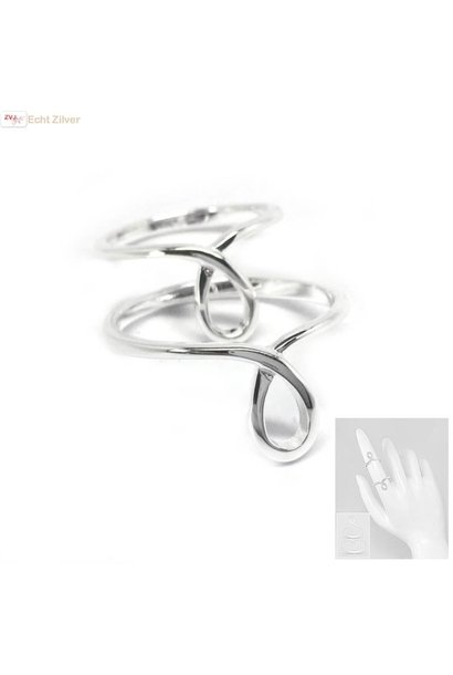 Zilveren midi knuckle lus ring set van 2