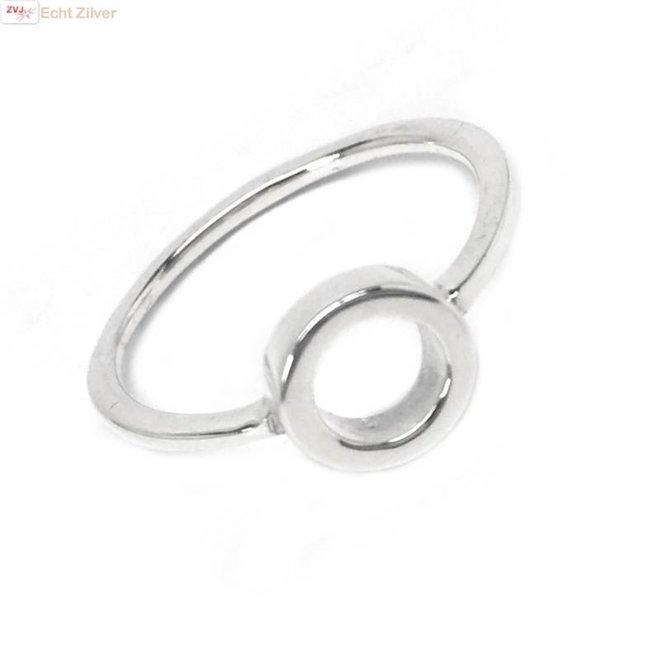 Zilveren trendy ring met open cirkel