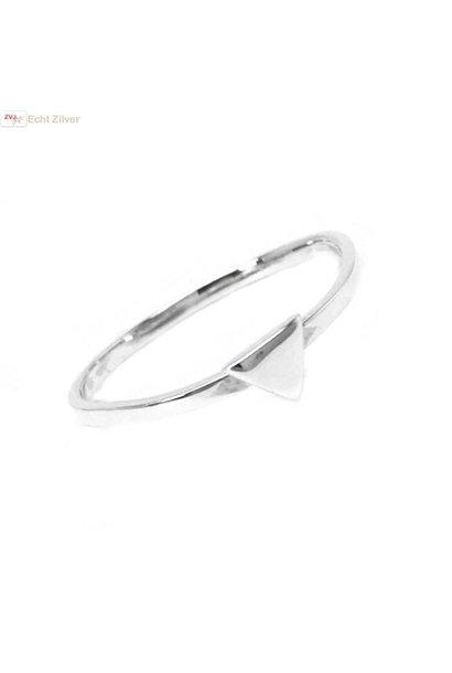 Zilveren smalle triangel driehoek ring