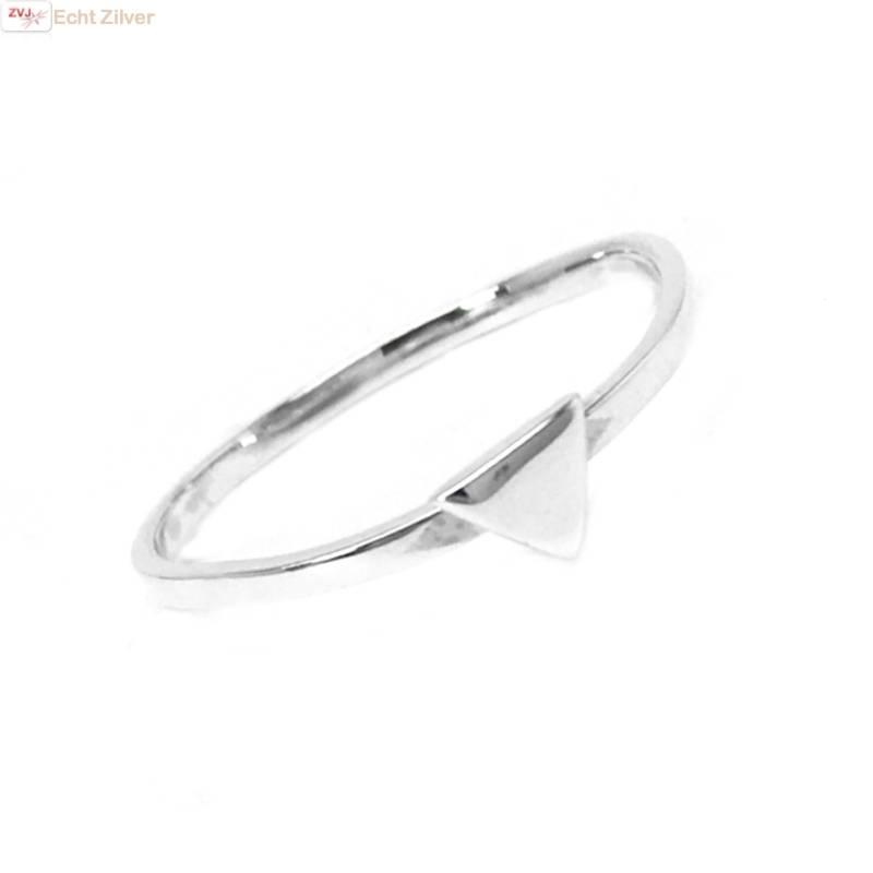 Zilveren smalle triangel driehoek ring-1