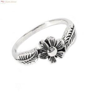 ZilverVoorJou Zilveren ring bloem en blad