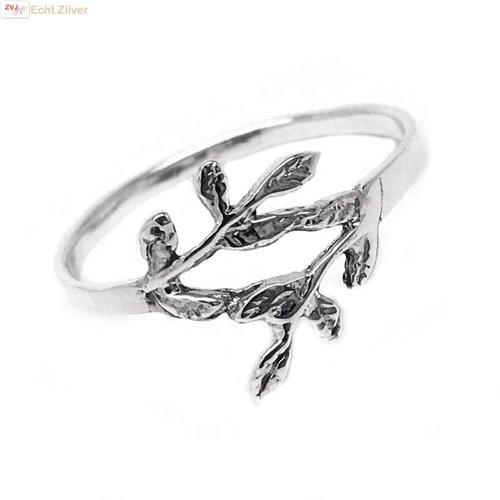 ZilverVoorJou Zilveren ring met takje