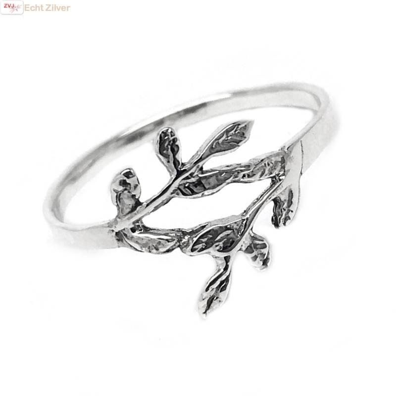 Zilveren ring met takje-1
