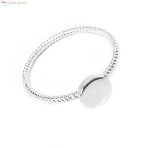 ZilverVoorJou Zilveren sierlijk gedraaid ringetje met cirkel