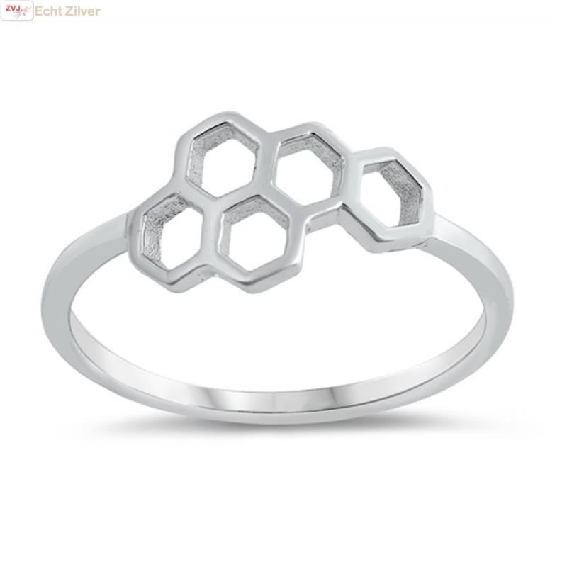 Zilveren bijenraat beehive ring-1
