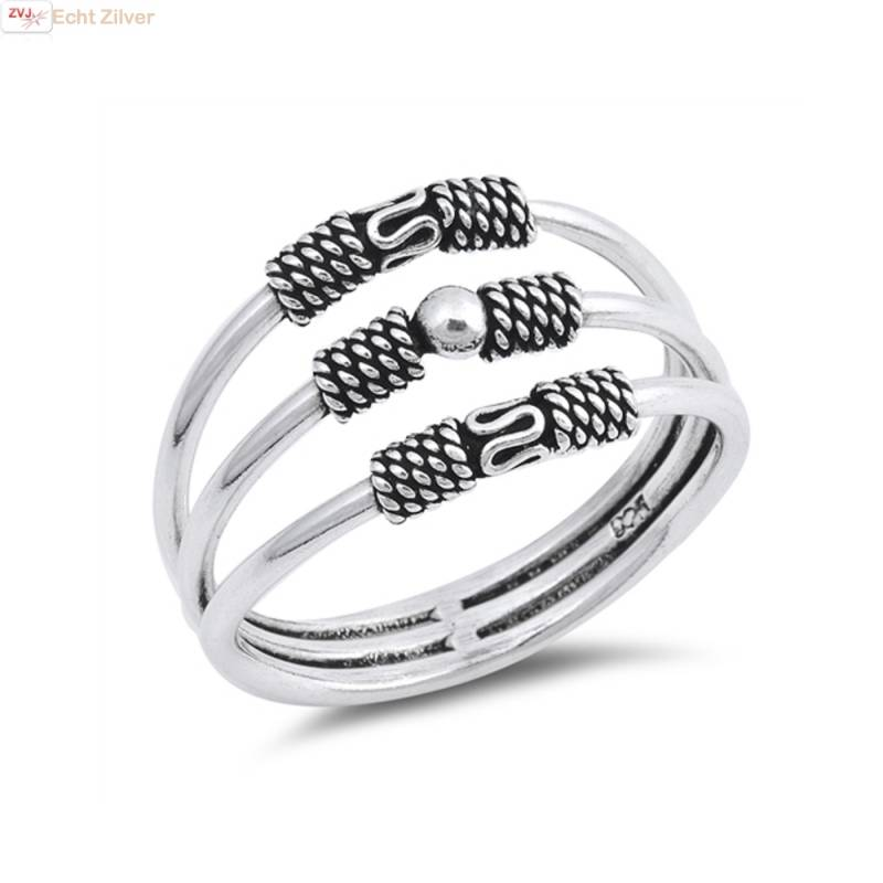 Zilveren keltische 3 ringen in 1 ring-1