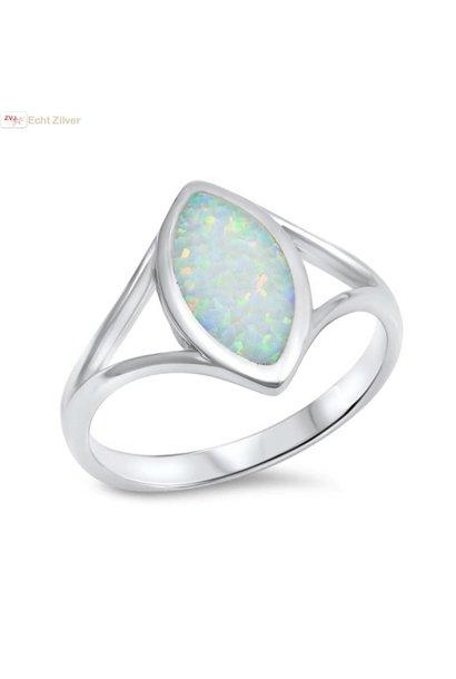 Zilveren witte markies opaal  ring