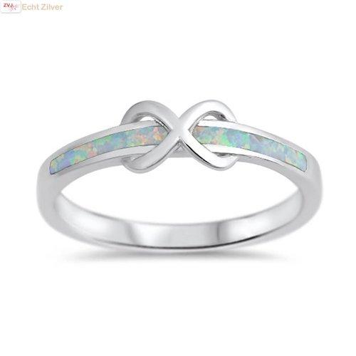 ZilverVoorJou Zilveren smalle infinity witte opaal ring