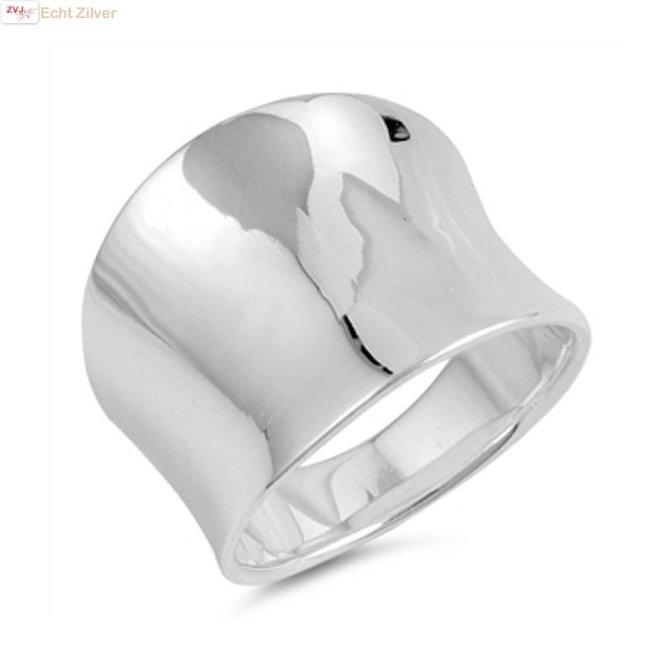 Zilveren strak design concave ring