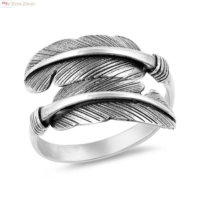 Zilveren veren ring