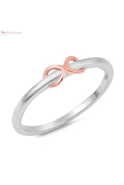 Zilveren vergulde infinity ring