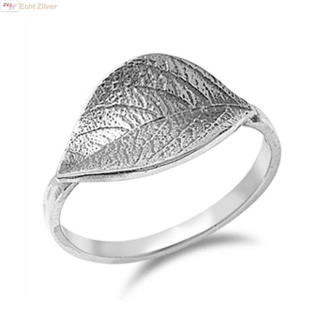 Zilveren blad ring