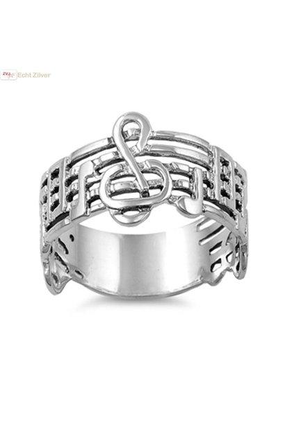 Zilveren vioolsleutel notenbalk muziek ring