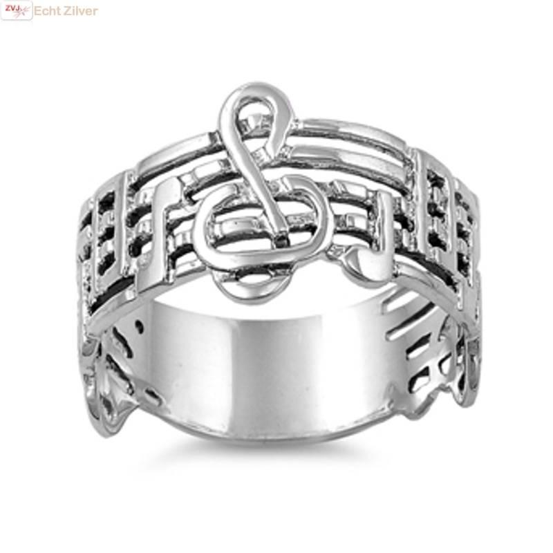 Zilveren vioolsleutel notenbalk muziek ring-1