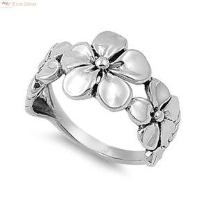 ZilverVoorJou Zilveren bloemen plumeria ring
