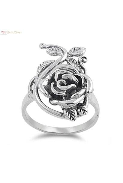 Zilveren sier roos ring