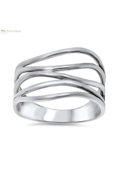 Zilveren sier draad  ring
