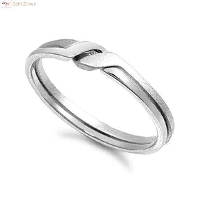 Zilveren zeer strakke mat hoogglans ring