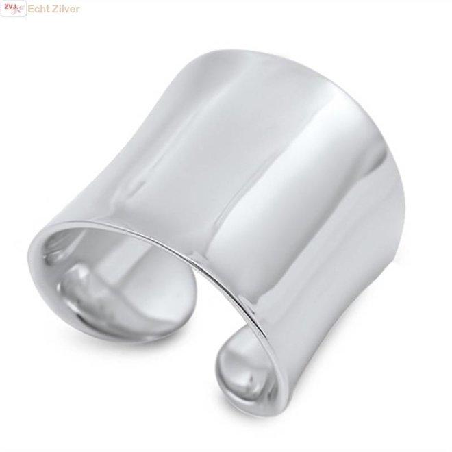 Zilveren grote strakke brede design ring