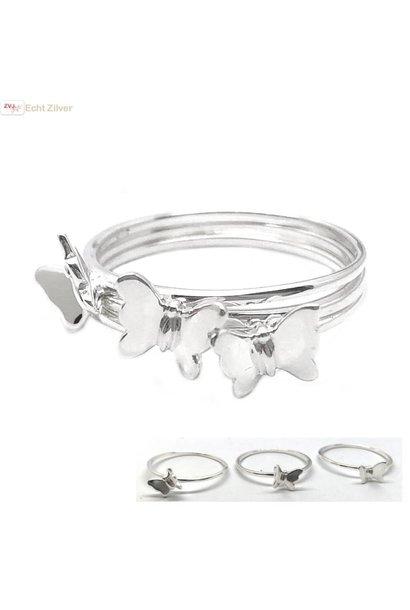 Zilveren 3-delige vlinder ring