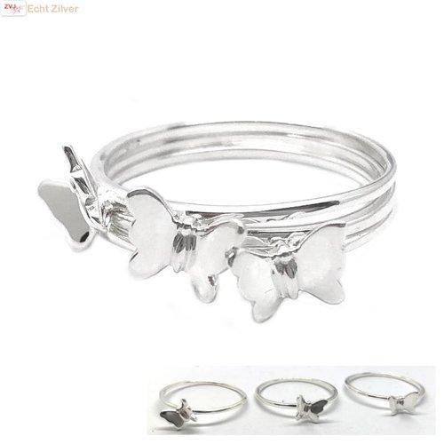 ZilverVoorJou Zilveren 3-delige vlinder ring