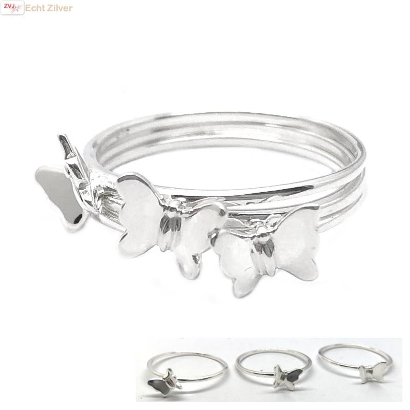 Zilveren 3-delige vlinder ring-1