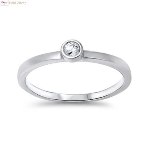 ZilverVoorJou Zilveren kleine witte cz solitair ring
