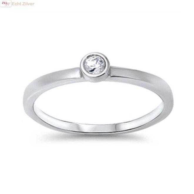 Zilveren kleine witte cz solitair ring