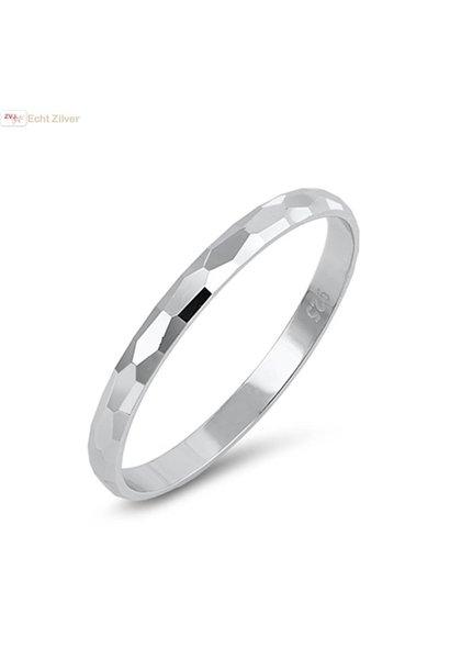 Zilveren gehamerde smalle ring
