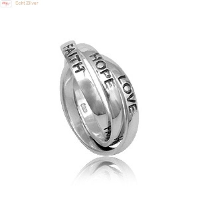 Zilveren 925 trinity Love Hope Faith ring