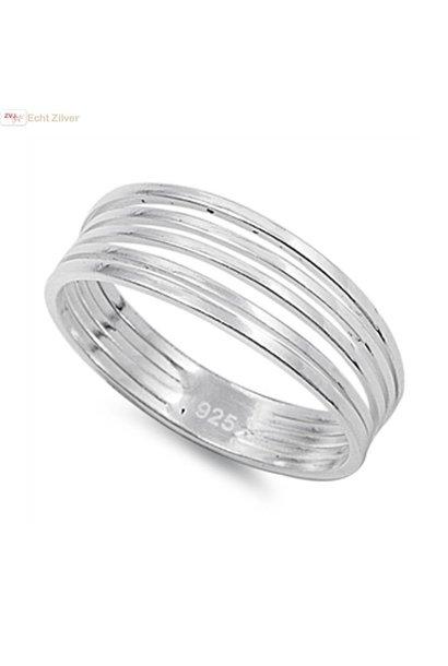 Zilveren 5 strings ring