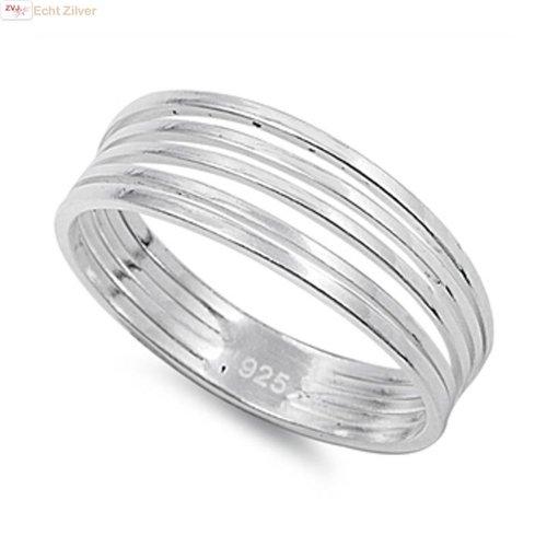 ZilverVoorJou Zilveren 5 strings ring