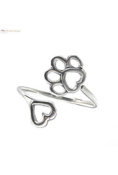 Zilveren verstelbare ring met pootafdruk en hartje