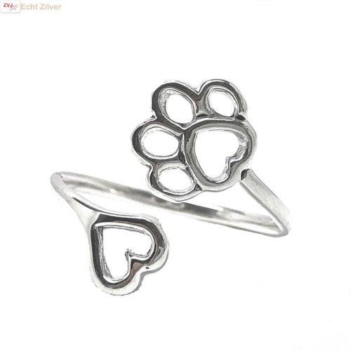 ZilverVoorJou Zilveren verstelbare ring met pootafdruk en hartje