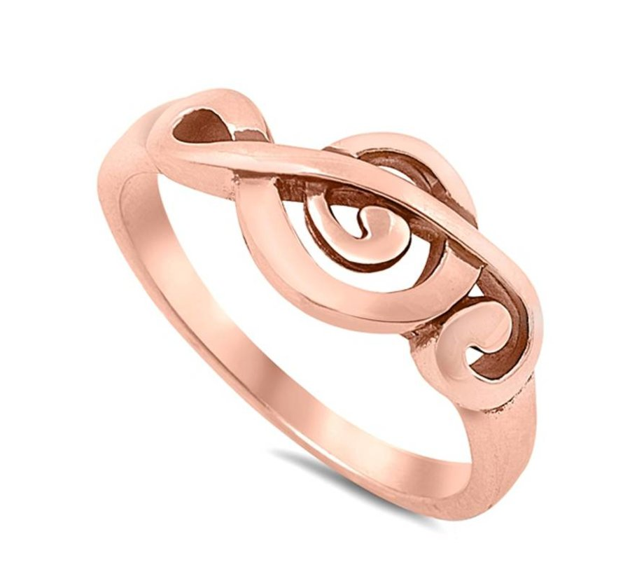 Zilveren vioolsleutel ring rose goud verguld