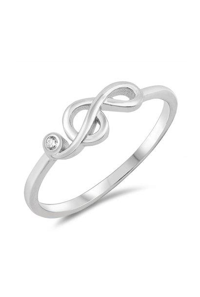 Zilveren vioolsleutel met witte zirkoon ring