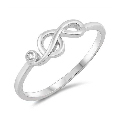 ZilverVoorJou Zilveren vioolsleutel met witte zirkoon ring