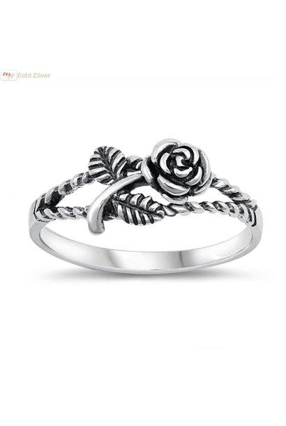 Zilveren geoxideerde roos ring