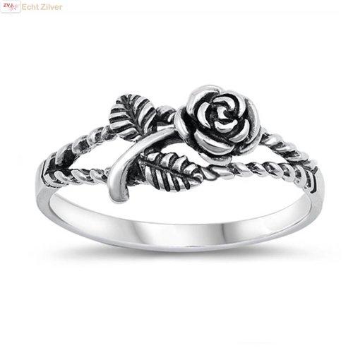 ZilverVoorJou Zilveren geoxideerde roos ring