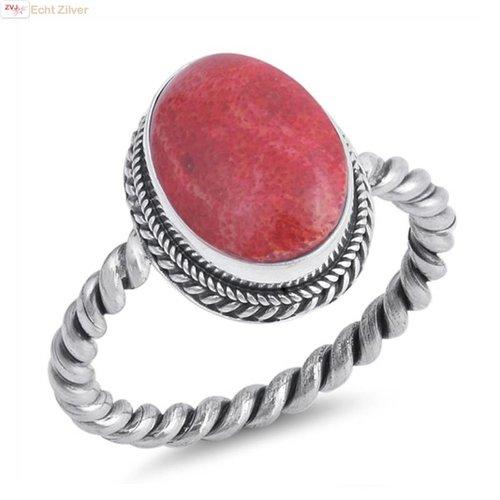ZilverVoorJou Zilveren draai  ring met ovale rood koraal